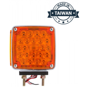 TR56136 LED, Red/Yellow Square, 24 Diode, RH, Dual Face, Vertical Mount, Side Marker, Pedestal Light, 2 Stud, Stripped End/Ring Terminal (Made in Taiwan)